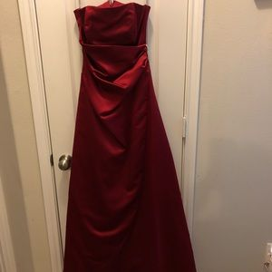 Davids Bridal Apple Red Satin Strapless Long Gown